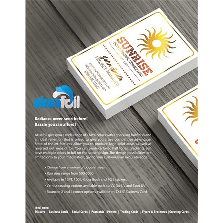 16PT Akuafoil Business Cards With UV Coating
